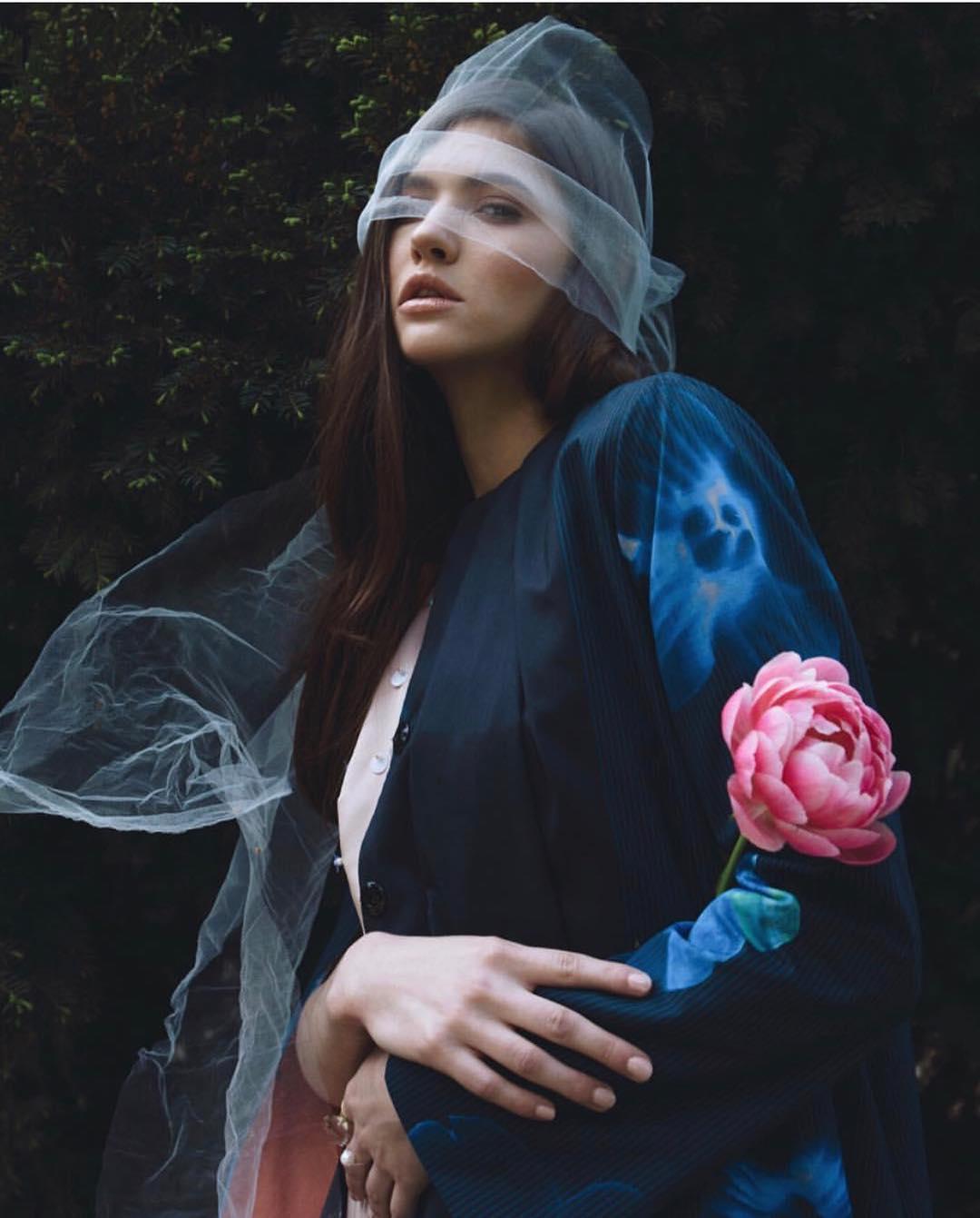 elegant magazine model veil forest
