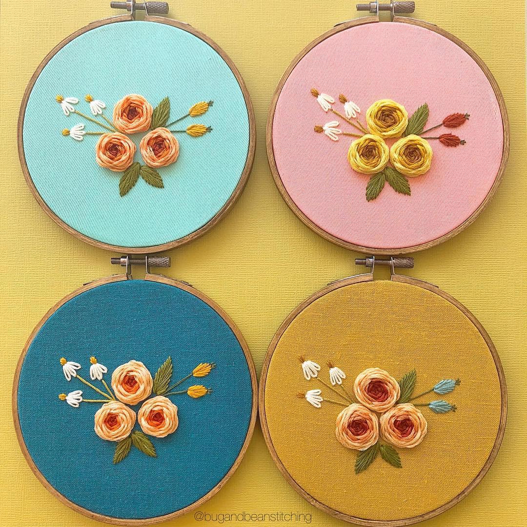 bugandbeanstitching floral stitches