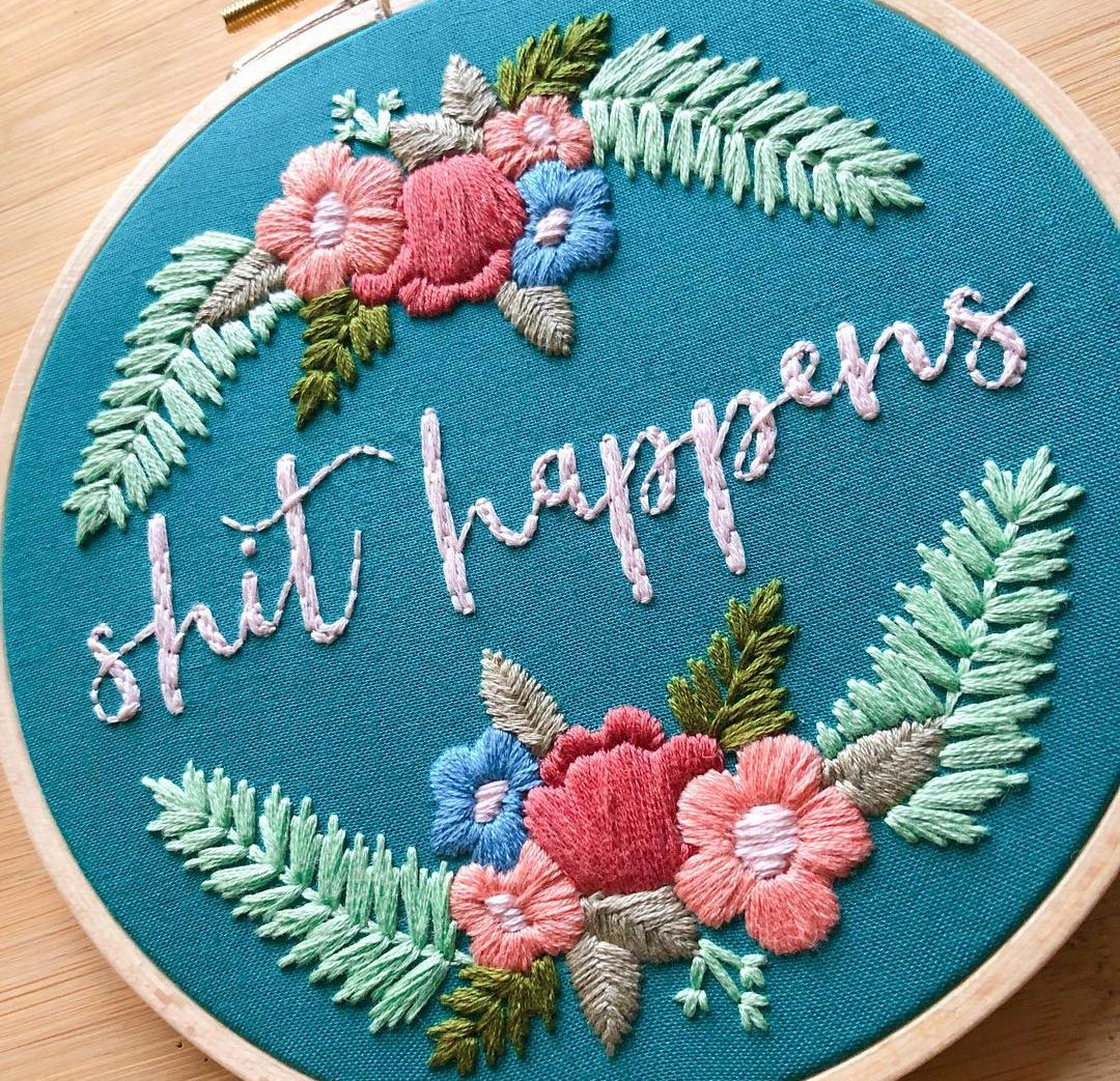 ellucystitches shit happens Instagram Embroidery