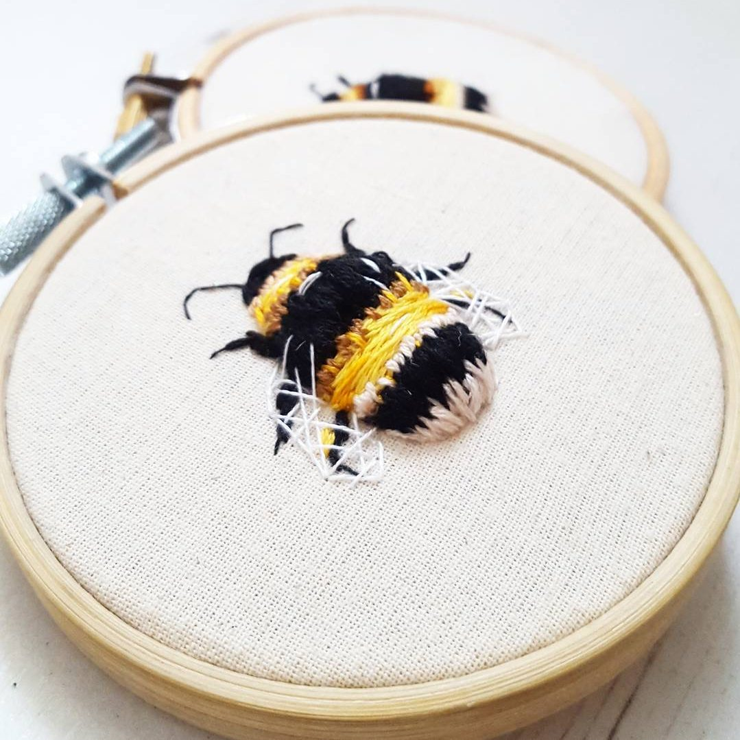 loustitches embroidered bumble bee