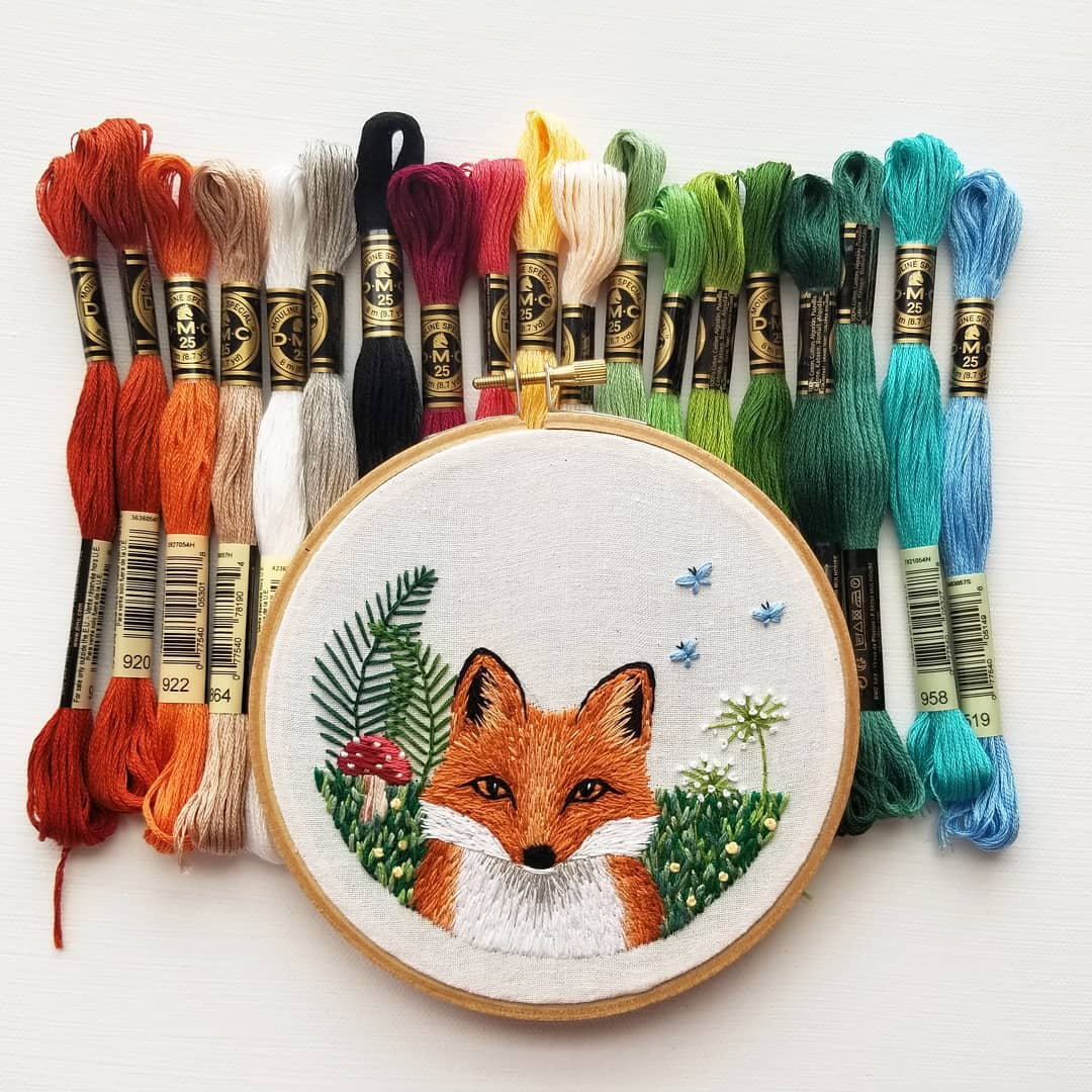 namaste_embroidery fox Instagram Embroidery