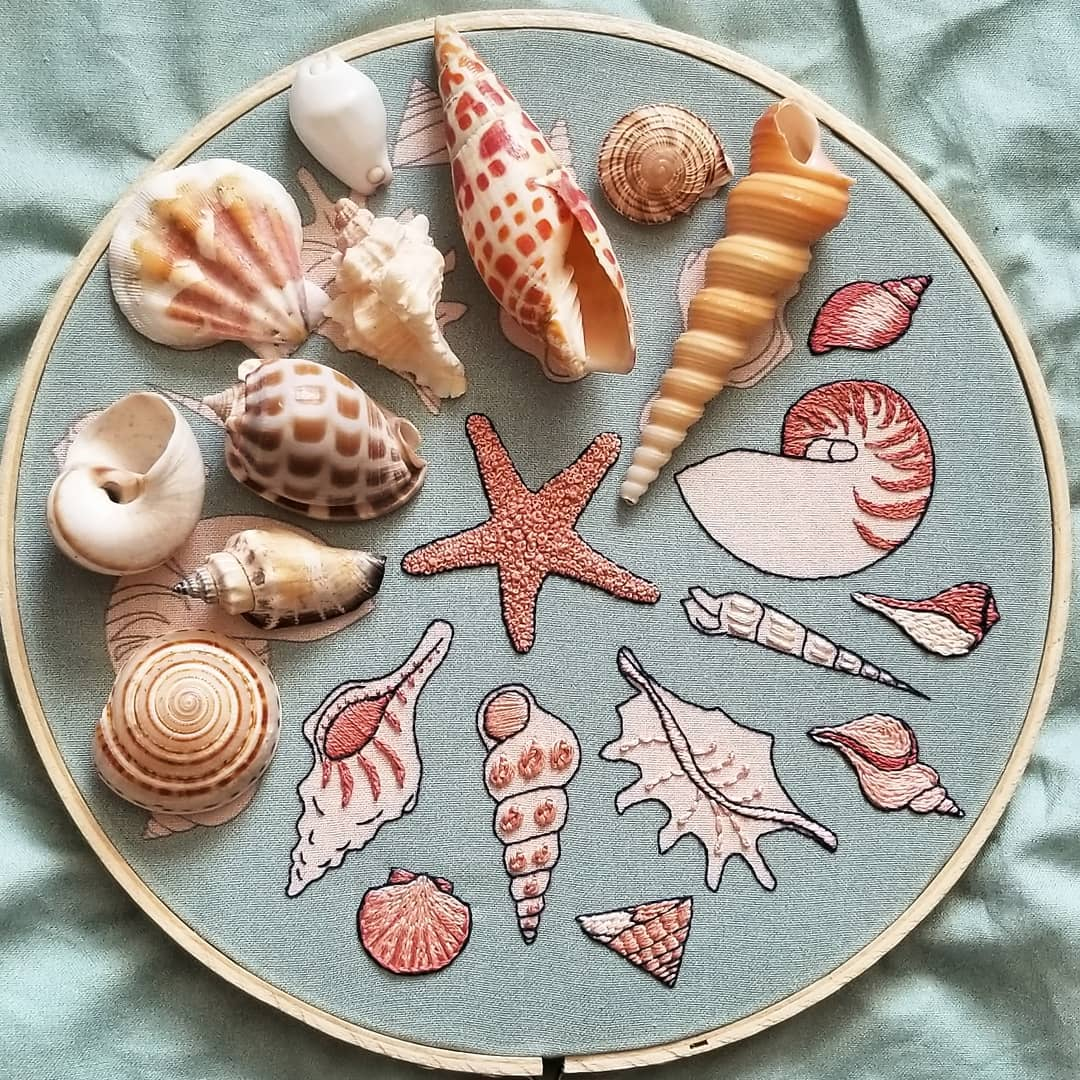 namaste_embroidery sea shells
