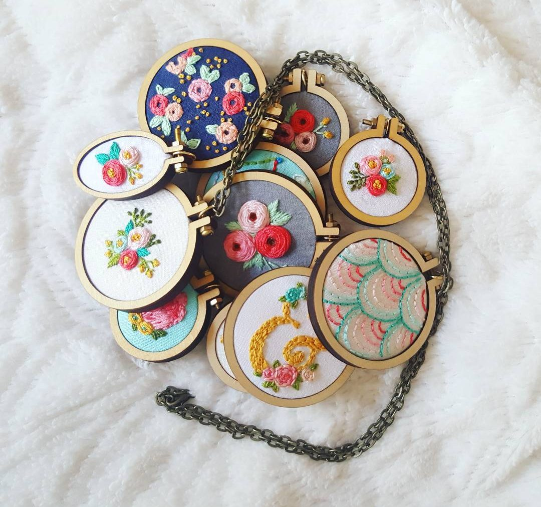 thekitschystitcher embroidered necklace jewelry lot