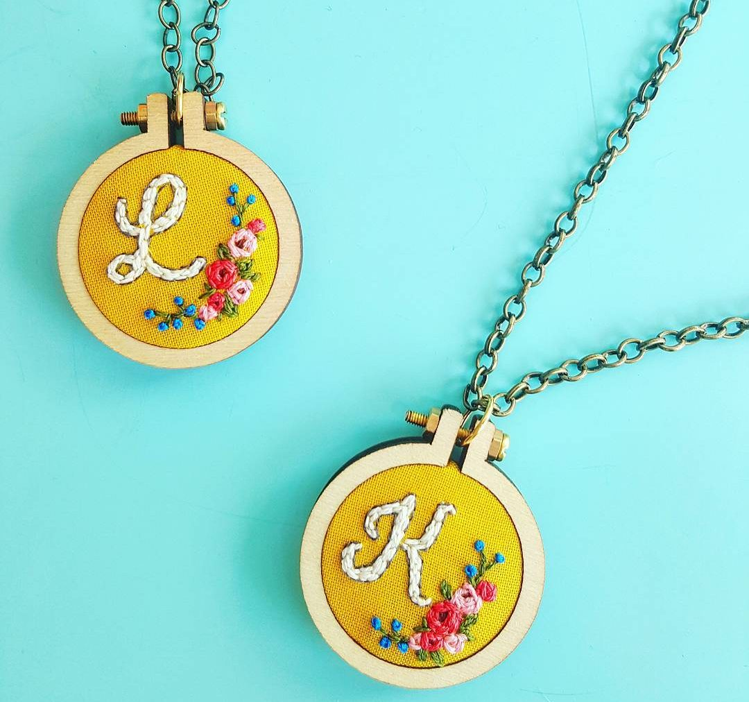 thekitschystitcher initials embroidered necklace jewelry