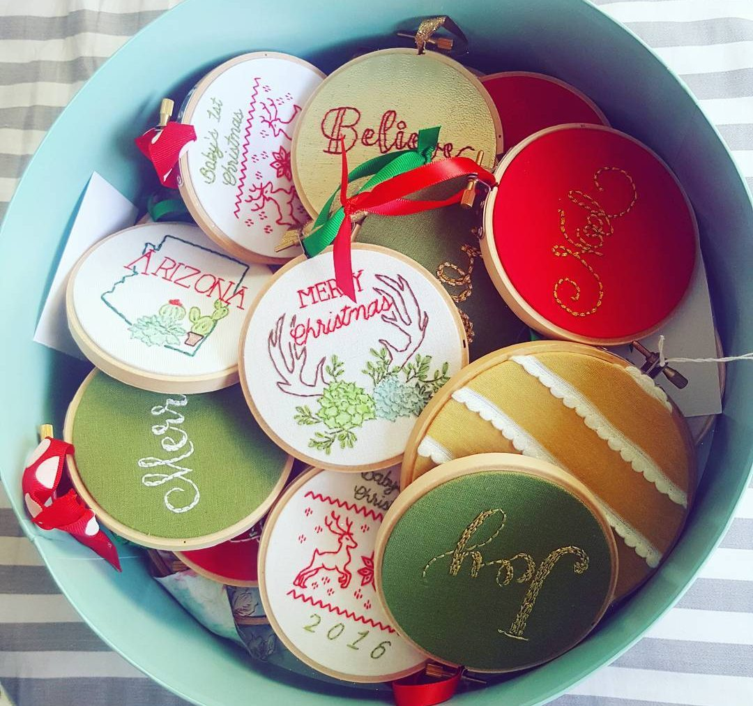 thekitschystitcher instagram embroidery Christmas ornaments
